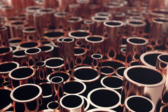 Heap of shiny copper pipes with selective focus effect. 3d rendering.  stock illustration