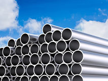 Heap of shiny metal pipes royalty free illustration