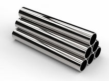 Heap of shiny metal pipes on white background Royalty Free Stock Image