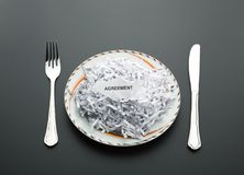 Heap of shredded papers on the plate Royalty Free Stock Photo