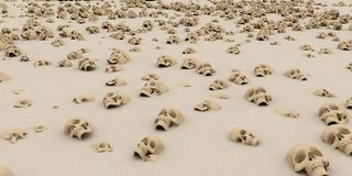Heap of skulls on sand. Apocalypse and hell concept. 3d renderin Stock Image