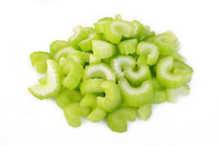 Heap of sliced celery on white background Royalty Free Stock Photography