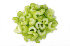 Heap of sliced celery on white background Stock Photography