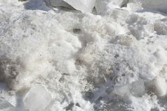 Heap of snow with ice pieces close Stock Image