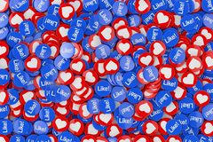 Heap of Social Media Network Love and Like Heart Badges Coins Background Texture. 3d Rendering. Heap of Social Media Network Love and Like Heart Badges Coins royalty free illustration