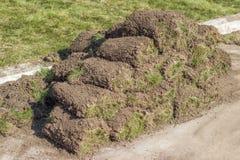 Heap of sod rolls royalty free stock image