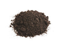 Heap of soil humus, isolated on a white background. Pile black earth. Royalty Free Stock Photography