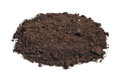 Heap of soil. A heap of soil on a white background royalty free stock image