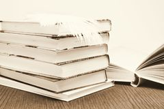A heap of some very old and new books in the library. A heap of some very old and new books in the library Royalty Free Stock Photography