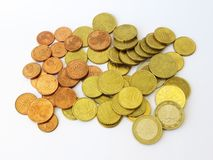Heap of sorted euro money copper coins with a white background royalty free stock photography