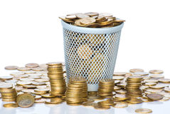 Heap of Soviet Union coins in canister. Royalty Free Stock Photo
