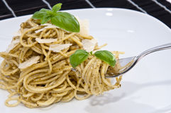 Heap of spaghetti with fresh pesto Stock Image