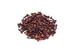 Heap of spice cloves isolated on white background royalty free stock images