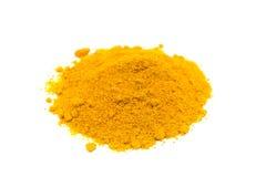 Heap of spice turmeric powder on white background Royalty Free Stock Photo