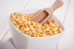 Heap of split peas containing zinc and dietary fiber, healthy nutrition Royalty Free Stock Image