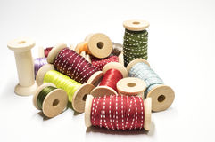 Heap of spools with ribbons Stock Photography