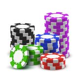 Heap sport poker chips or 3d stack of casino cash. Stack or heap, pile or tower of casino chips. 3d or realistic blue and green, red and black, violet poker cash stock illustration