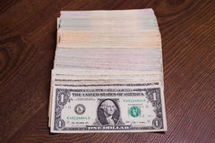 Heap, stack money lying on the floor Stock Photography