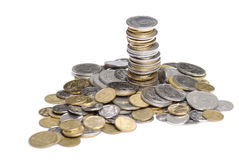 Heap and stack of uah coins Royalty Free Stock Image