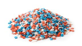Heap of stars confetti candy sprinkles stock photos