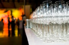 Heap of stemware glass at party royalty free stock images