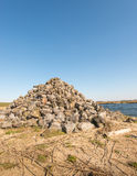 Heap of stones along a river Royalty Free Stock Photos