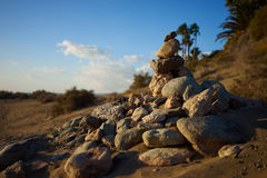 Heap of stones in desert Royalty Free Stock Images