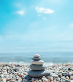 Heap of stones like zen near sea Royalty Free Stock Photos