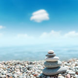 Heap of stones like zen near sea Royalty Free Stock Photography