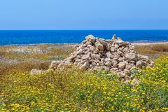 Heap of stones on spring meadow in Paphos Archeological park Royalty Free Stock Photos