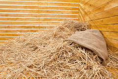 Heap of straw in a board corner. Heap of straw in an interior of a photographic studio Stock Images