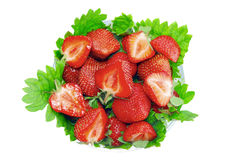 A heap of  strawberries in glass bowl. Isolated Stock Photography