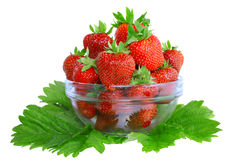 A heap of  strawberries in glass bowl. Isolated Stock Photos