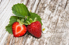 Heap of Strawberries on wood Stock Photo