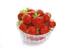Heap of strawberry isolated on white. Strawberries in a bowl on a white background stock photos
