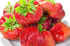 Heap of strawberry on the plate Stock Images