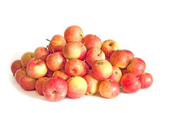 Heap of striped red apples on white Royalty Free Stock Photography