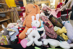 Heap of stuffed toys in gift store Stock Image