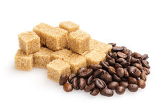 Heap of sugarcane blocks and coffee beans Stock Photo