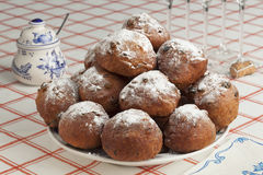 Heap of sugared fried fritters or oliebollen Stock Photography