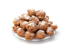 Heap of sugared fried fritters or oliebollen on scale Stock Images