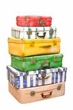 Heap of suitcases. Heap of many-colored suitcases is on white background stock image
