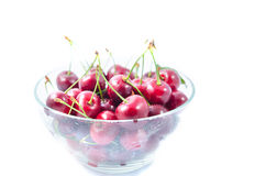 Heap of sweet cherries in a glass bowl Royalty Free Stock Photo