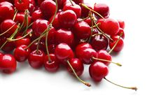 Heap of sweet cherries. On white background Stock Photos