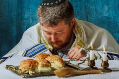Heap of sweet round sabbath challah bread with royalty free stock images