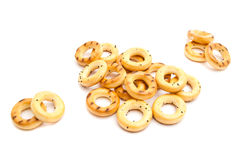 Heap of tasty bagels. On white background Stock Image