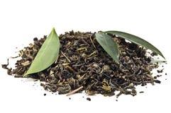 Heap of tea. Heap of green tea on white Stock Images