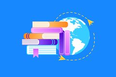 Heap of Textbooks on Earth Background Background. royalty free illustration