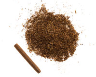 Heap of tobacco and cigars. Stock Photo