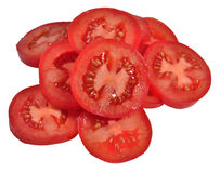 Heap of tomato slices on a white Royalty Free Stock Image